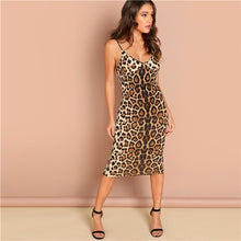 Load image into Gallery viewer, Women Multicolor Party Backless Leopard Print Dress