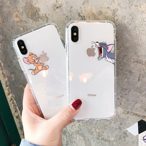 Cartoon Phone Case for iPhone X XS Max XR Cute Cat Tom Cover for iphone 8 7 6 6S Plus