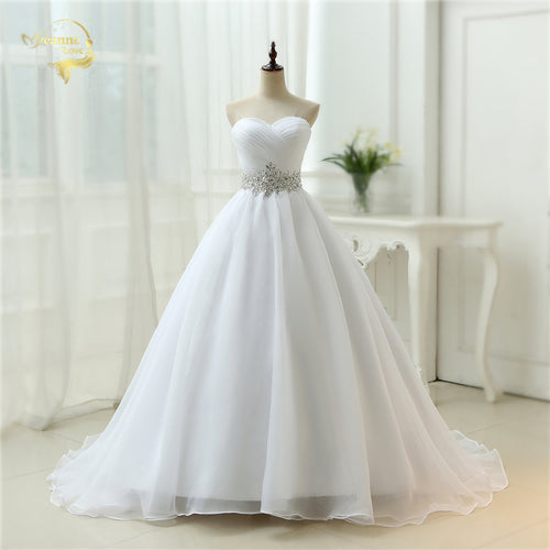 Women's White Belt Robe Strapless Lace Up Wedding Dresses