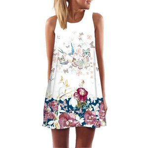 Women Summer Floral Print Boho Dress