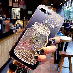 Glitter Bottle Phone Case For iPhone X XS Max XR Bling Flowing Love Heart Case For iPhone 8 7 6 6s Plus