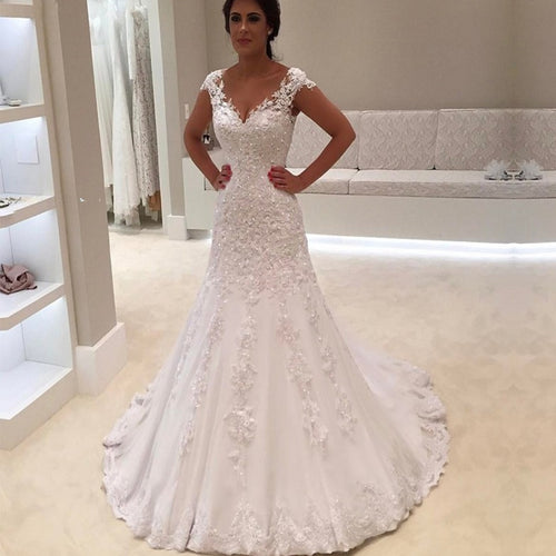 Women's V Neck Short Sleeves Lace Mermaid Wedding Dress