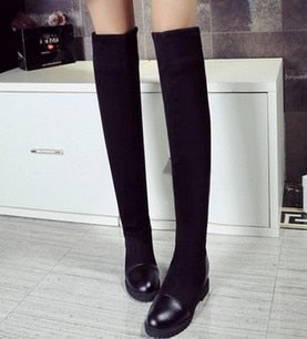 Women's elastic knee high boots