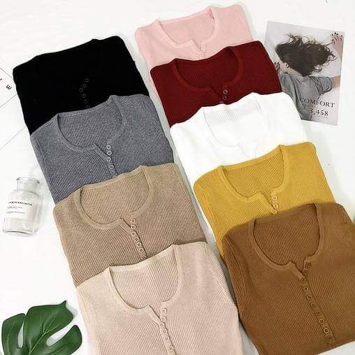 Women Basic Slim Knitted