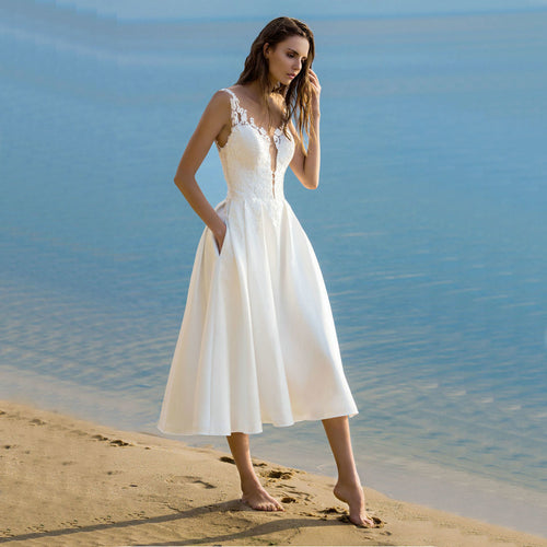 Women's Bohemian Zipper Tea Length Beach Bridal Dress
