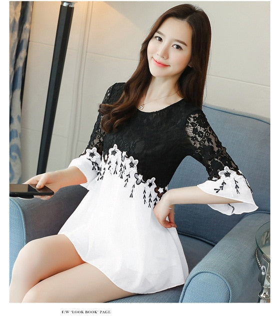 Women's Sweet Hollow out Blouse