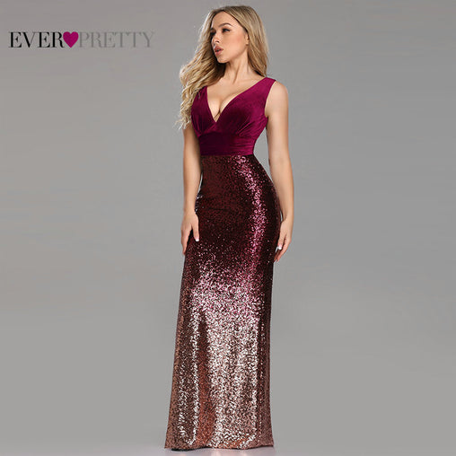 V-neck Sleeveless Mermaid Burgundy Long Evening Dresses