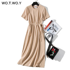 Women Long T-shirt O Neck Dress