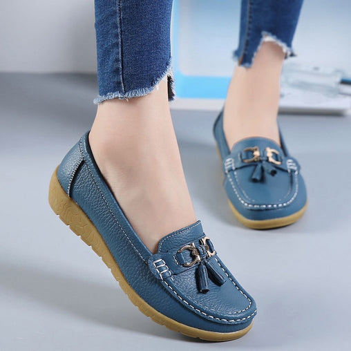 Women Genuine Leather Flat Sneakers