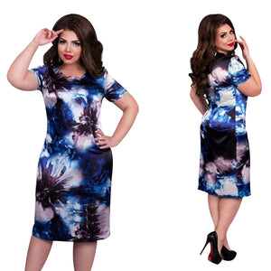 Women O Neck Print Flower Straight Casual Dress