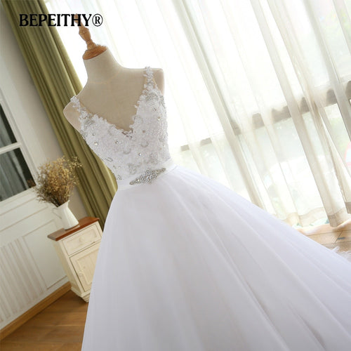 Women's Casamento Beadings Wedding Dress With Belt Bridal