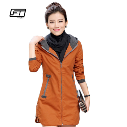 Women Coat Slim Windbreaker Patchwork Hoodie