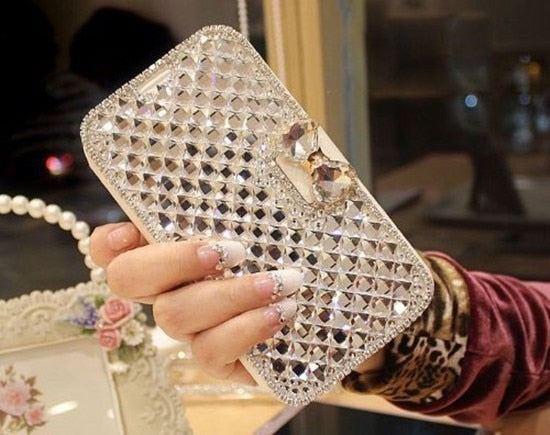 Luxury Rhinestone Flip Case Cover For iPhone 7 8 6 6S Plus  5 XR XS XS MAX