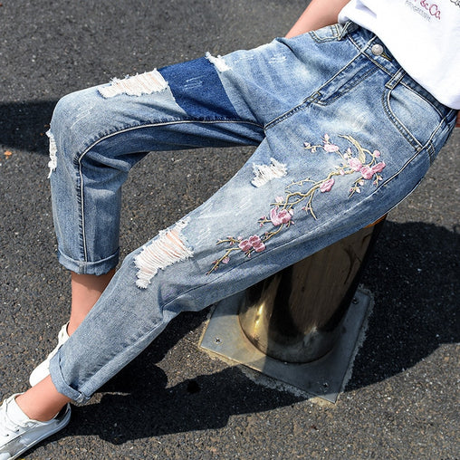 Women's Destroyed Denim Jeans
