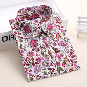 Floral Women Blouses Long Sleeve Shirt Cotton Women