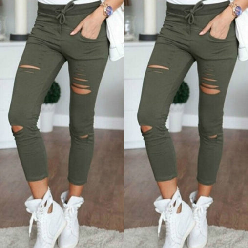 Women 's Holes Knees Pencil Pants