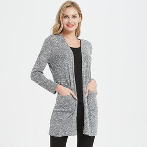 Women Elegant Pocket Outerwear Sweater
