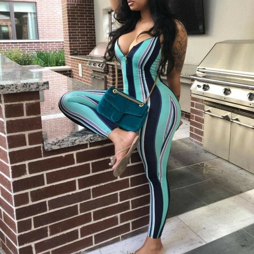 Body con Backless Stripe Jumpsuit