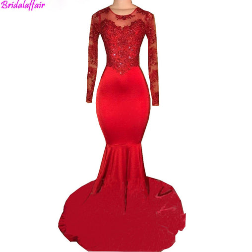 Women's Pure Mermaid Appliqued Prom Dress