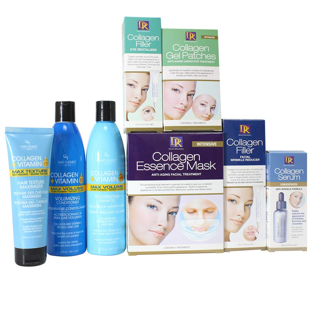 Hair Chemist Ultimate Collagen Collection for Face Eyes and Hair 8-Piece Set
