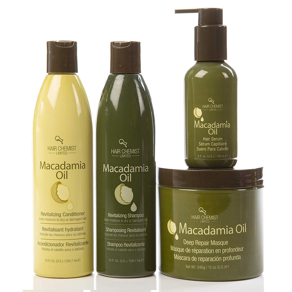 Hair Chemist Macadamia Oil Revitalizing Combo Shampoo 10 ounce and Conditioner 10 ounce and Deep Repair Masque 8 ounce and Hair Serum 4 ounce