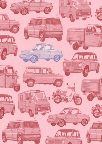 'Kei Vehicle' Wallpaper Style Ink-Jet Print - Pink/Blue