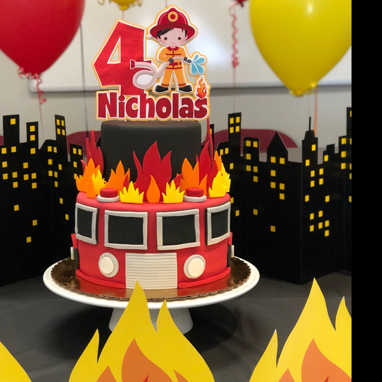 Marvelous Fireman Cake Topper Fire Fighter Cake Topper Fireman Party Funny Birthday Cards Online Alyptdamsfinfo