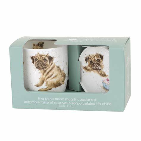 Wrendale 'Pug Love' Mug and Coaster Set