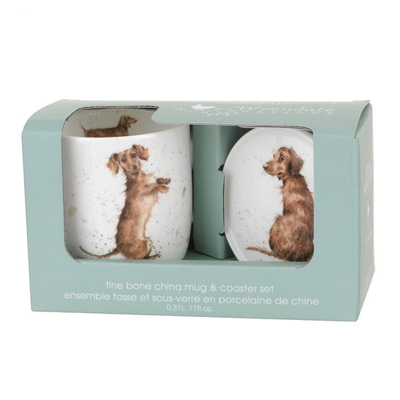 Wrendale 'Hello Sausage' Mug and Coaster Set