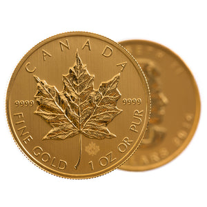 1oz Gold Canadian Maple Leaf BU (our year choice)