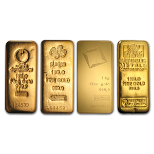 1 kilo .999 Fine Gold Bar (our Mint choice) with Assay Card