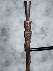 Large Palm Wrapped Tiki Man Walking Stick - Restoration Oak
