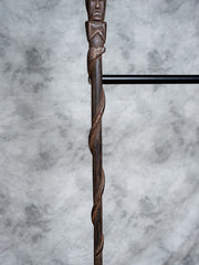 Large Palm Frowning Tiki Man Walking Stick - Restoration Oak