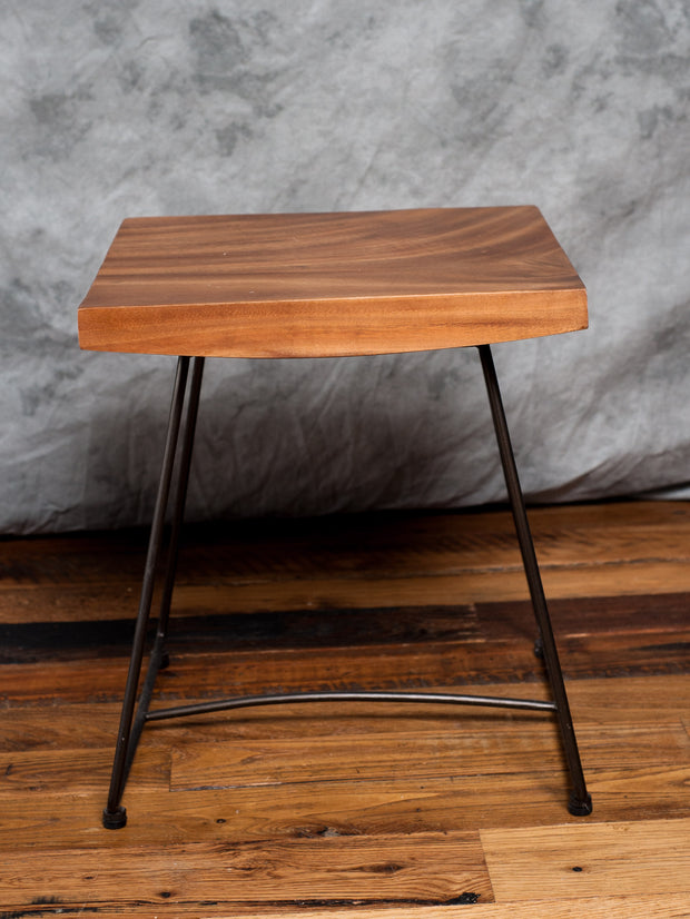 Suar & Metal End Table - Restoration Oak