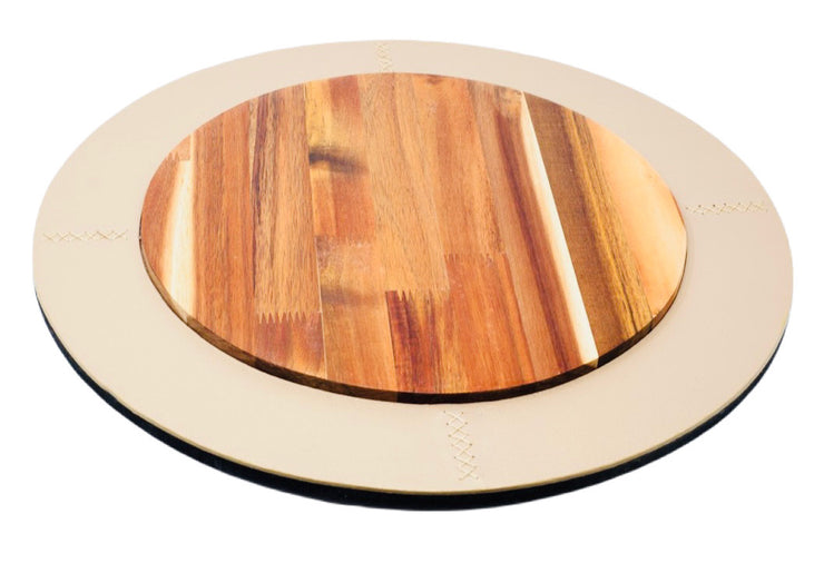 Leather & Wood Lazy Susan - Restoration Oak
