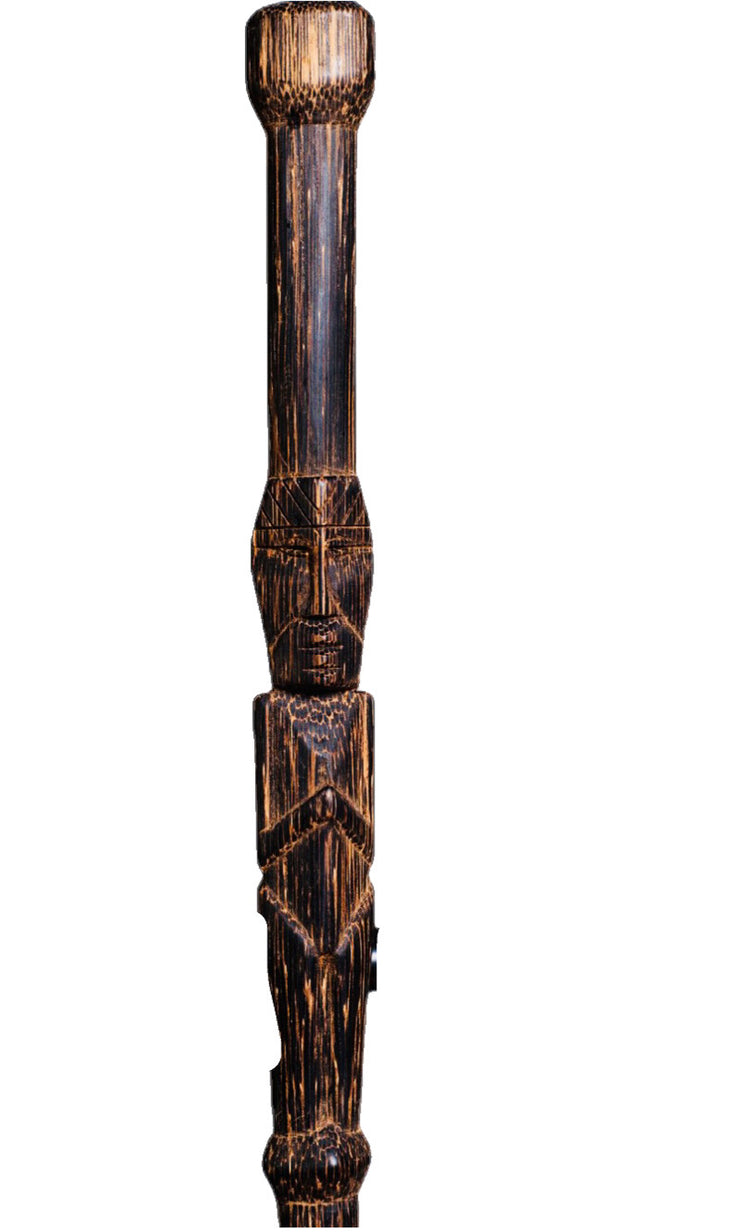 Large Palm Carved Tiki Man Walking Stick - Restoration Oak