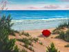 Crimson Umbrella ocean painting on canvas by Kim Hight