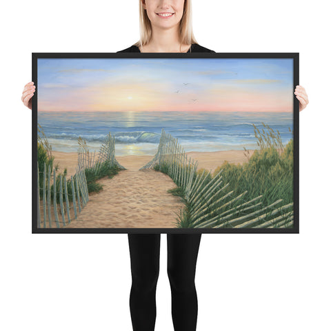 Coastal Sunrise framed art 24x36 by Kim Hight