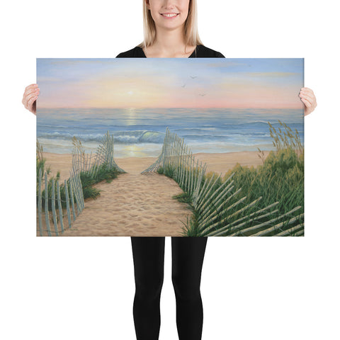 Coastal Sunrise beach sunset painting 24x36 by Kim Hight