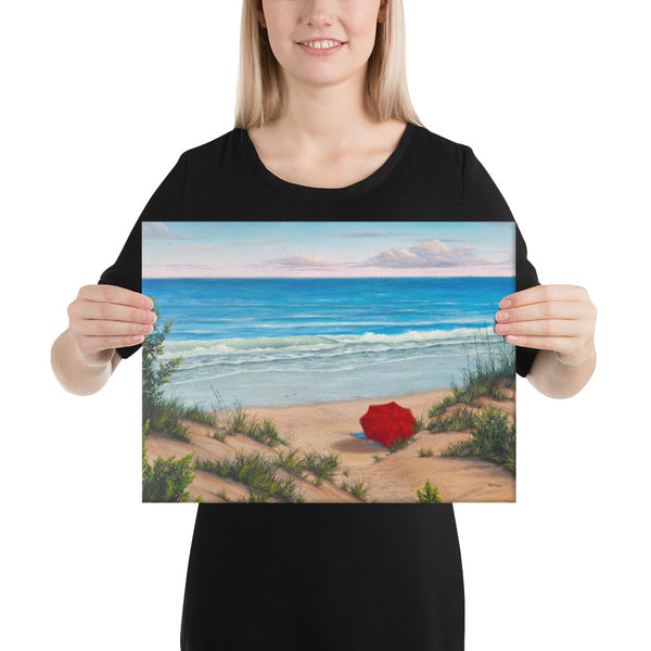 Crimson Umbrella beach wall art 12x16 by Kim Hight