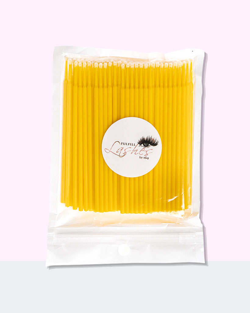 Microfiber Lint-Free Lash Brushes 100 Pack Yellow By Fulfill Lashes