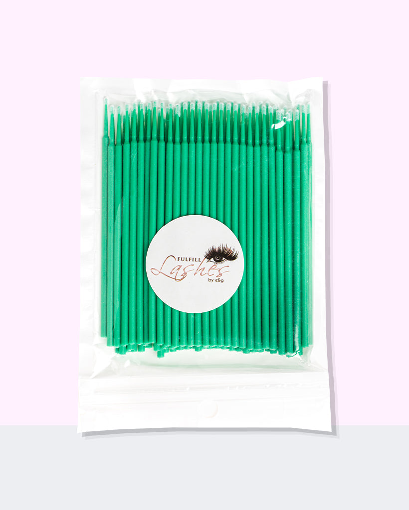 Microfiber Lint-Free Lash Brushes 100 Pack Green By Fulfill Lashes