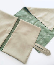 Load image into Gallery viewer, Love April & May- Nappy Wallet & Change Mat set, Light Olive Leaves