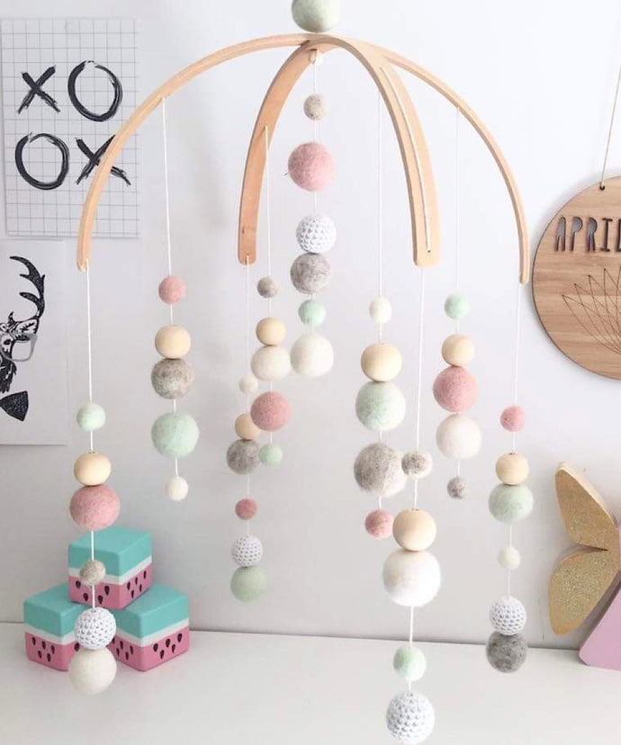 Love April & May- Deluxe Double Arch Mobile, Pastel Pink, Mint, White & Light Grey (girl)