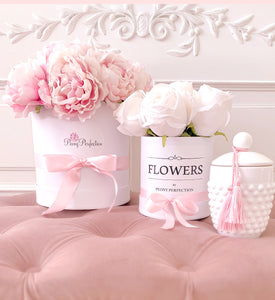 Pastel Blooms Silk Peony White Bouquet Box- Pink Peonies