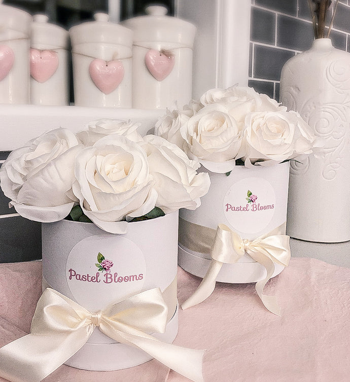 Pastel Blooms Silk Rose White Bouquet  Box- White Roses