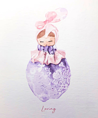 Valentina The Swan- Watercolour Print Purple Lace Doll