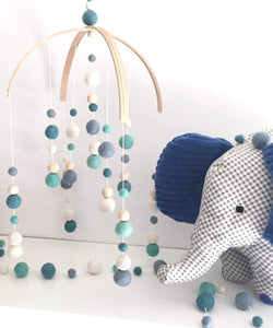Love April & May- Double Deluxe Arch Mobile, Teal, Turqouise, Pastel Blue, White & Cream (boy)
