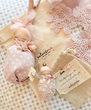 Load image into Gallery viewer, Valentina The Swan- Medium Blush Polka Dot Floral Bunny Mobile Doll