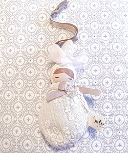 Valentina The Swan- Medium White Lace & pink polka dot Bunny Mobile Doll